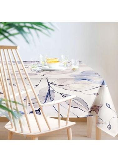 The Mia Flower Masa Örtüsü - 150 x 150 Cm - Beyaz Lila Beyaz
